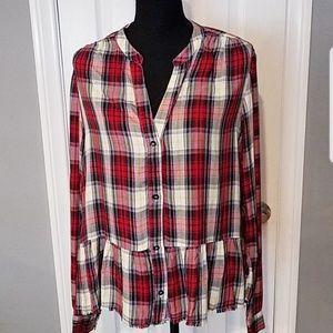 Splendid peplum plaid shirt Sz L